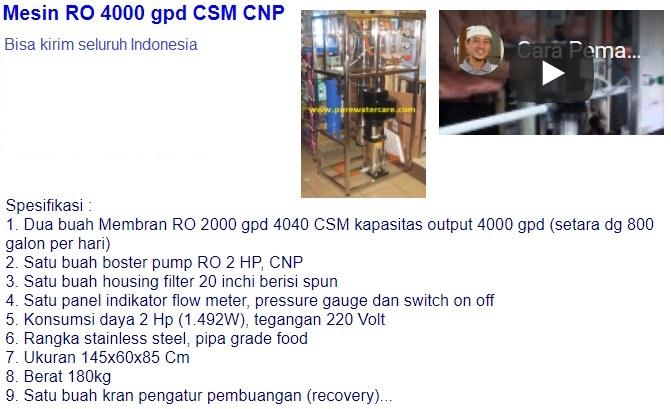 Mesin RO 4000 gpd CSM CNP  Rp.24.000.000,- Bisa kirim seluruh Indonesia WA: 0852-1730-4428