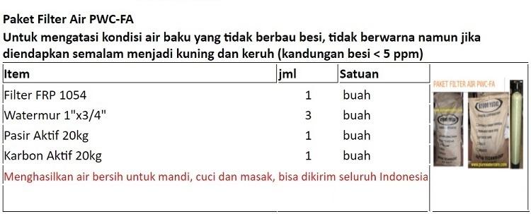 Paket Filter PWC-FA Rp.1.555.000,- Bisa kirim seluruh Indonesia WA: 0852-1730-4428