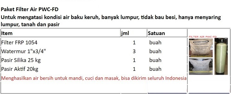 Paket Filter PWC-FD Rp.1.295.000,- Bisa kirim seluruh Indonesia WA: 0852-1730-4428